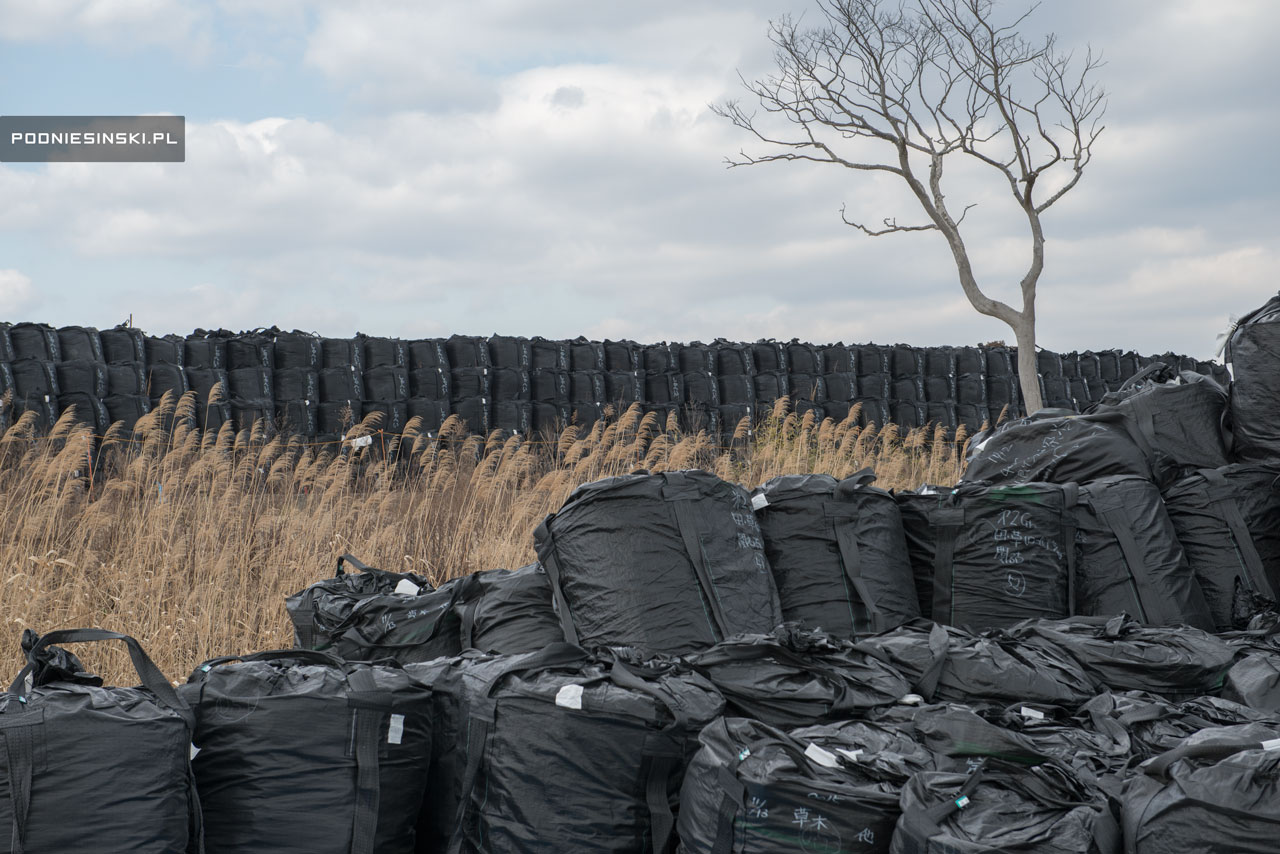 Landfill bags with contaminated soil in Tomioka.